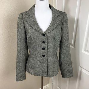 Nicole Miller Black and White Metallic Wool Blazer